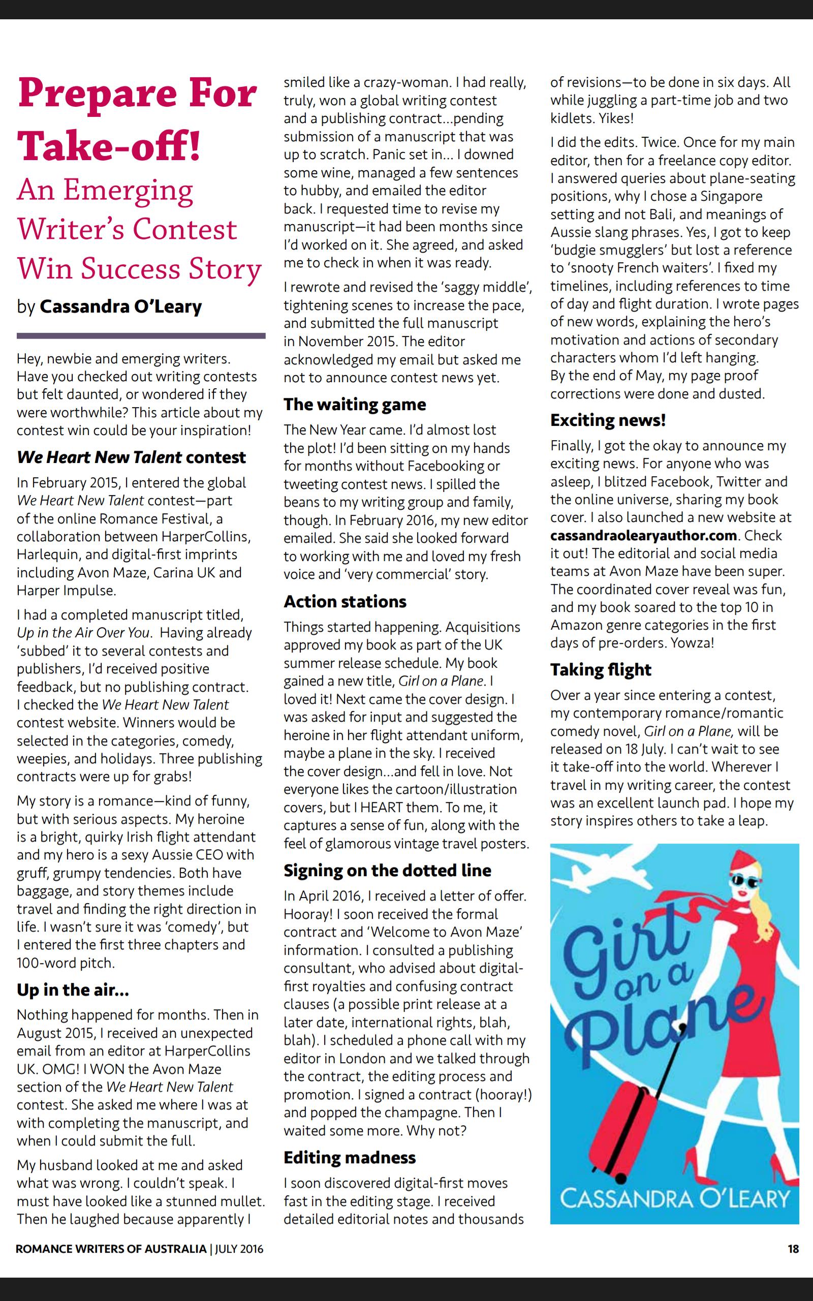 Prepare for take-off article in Hearts Talk magazine